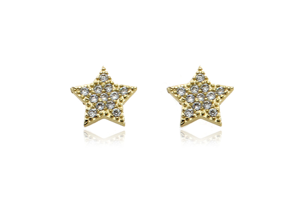 Chastain Gold CZ Star Stud Earrings - Boho Betty