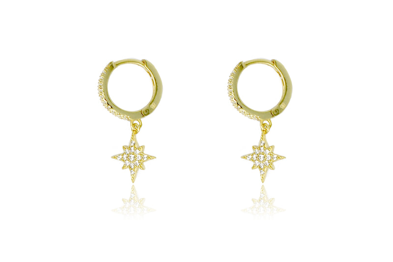 Cohan Gold CZ Star Hoop Earrings - Boho Betty