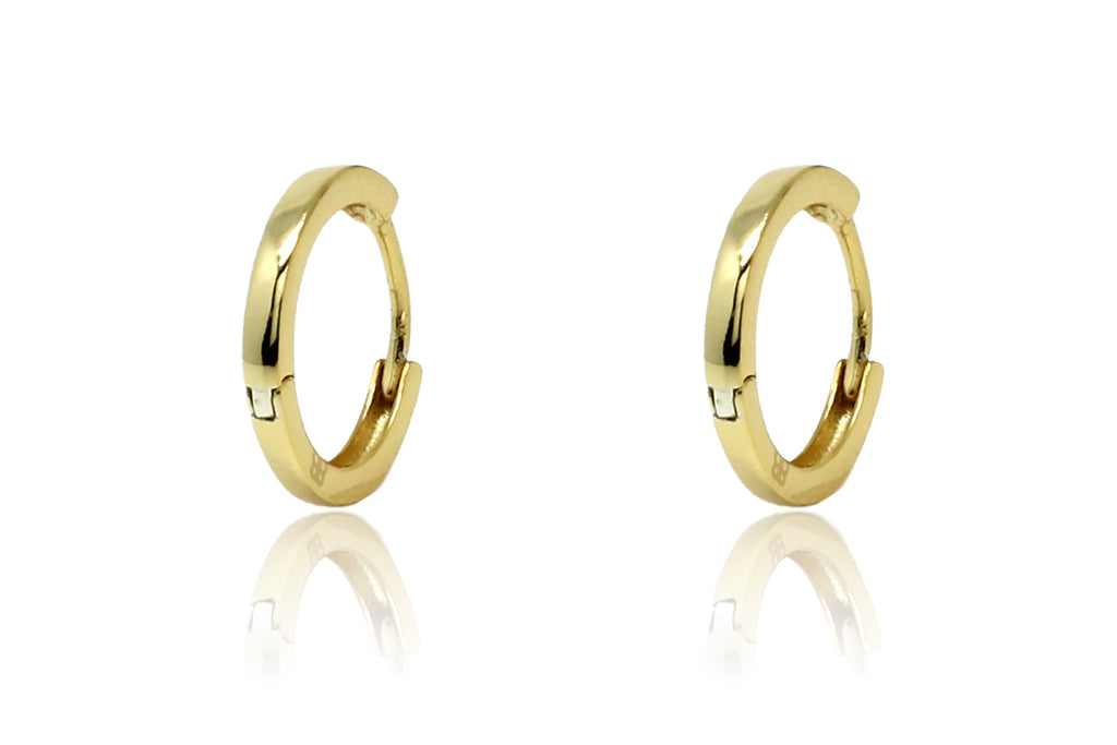 Dorval Gold Plain Hoop Huggie Earrings - Boho Betty