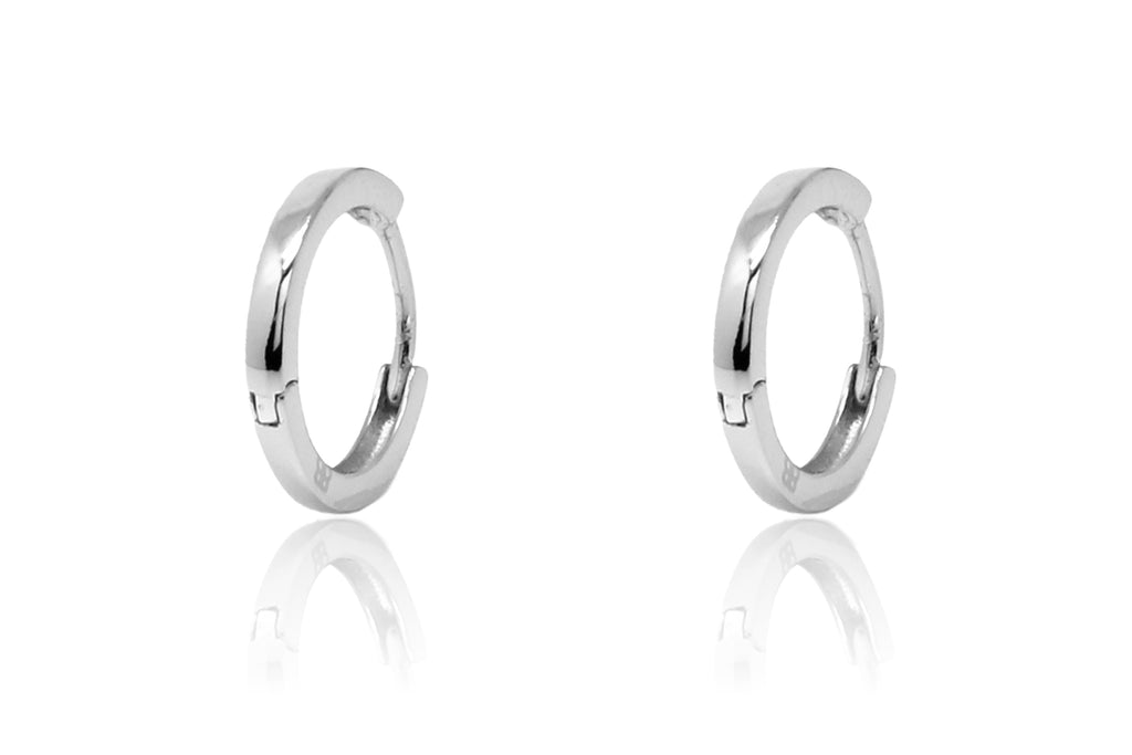 Dorval Silver Plain Hoop Huggie Earrings - Boho Betty