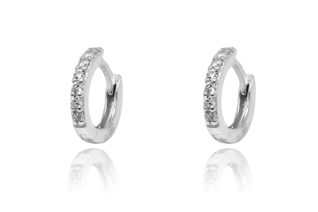 Dorval Silver CZ Hoop Huggie Earrings - Boho Betty