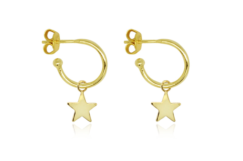 Dushku Gold Star Charm Hoop Earrings - Boho Betty