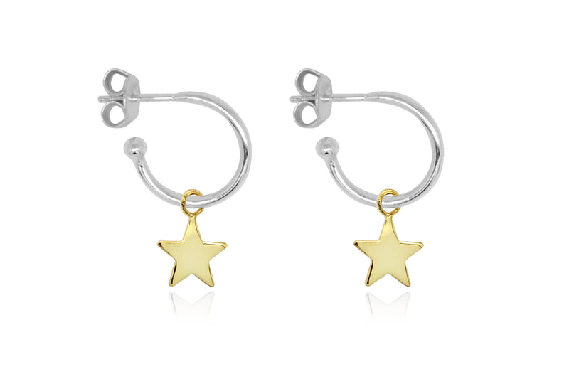 Dushku Silver Star Charm Hoop Earrings - Boho Betty