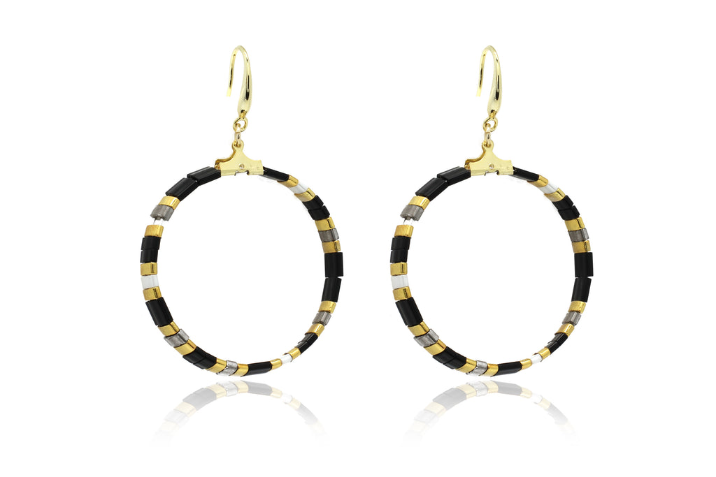 Ella Tila Black Hoop Earrings - Boho Betty