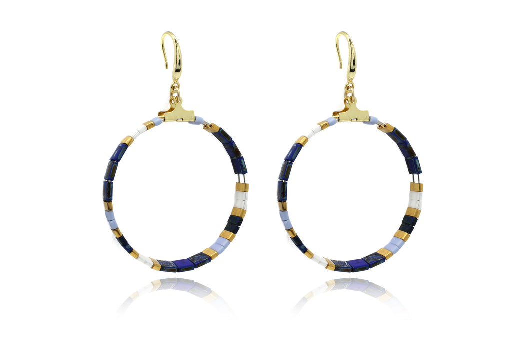 Ella Tila Blue Hoop Earrings - Boho Betty