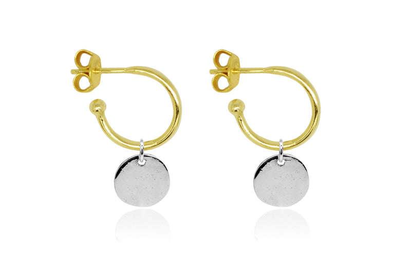 Garo Gold Disc Charm Hoop Earrings - Boho Betty