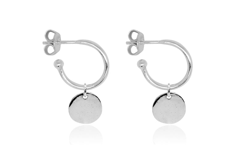 Garo Silver Disc Charm Hoop Earrings - Boho Betty