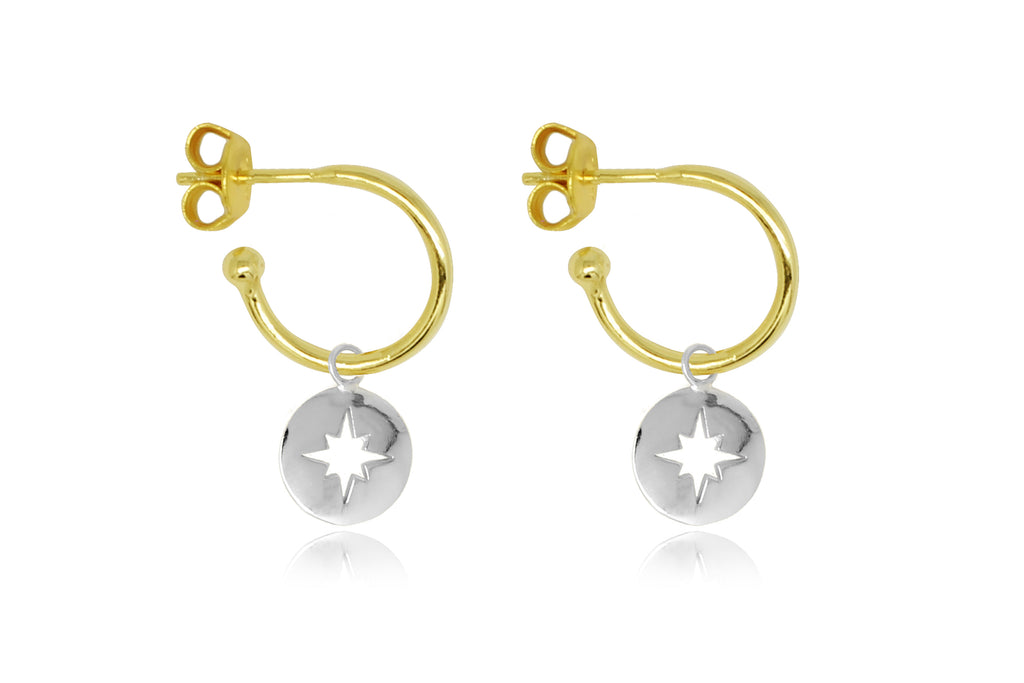Mack Gold Starburst Charm Hoop Earrings - Boho Betty