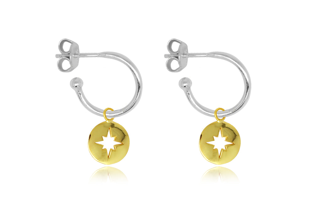 Mack Silver Starburst Charm Hoop Earrings - Boho Betty