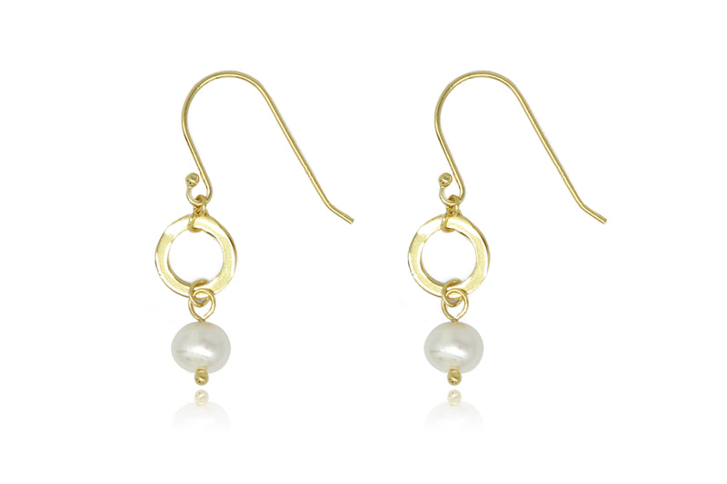 Ritter Gold Pearl & Circle Drop Earrings - Boho Betty