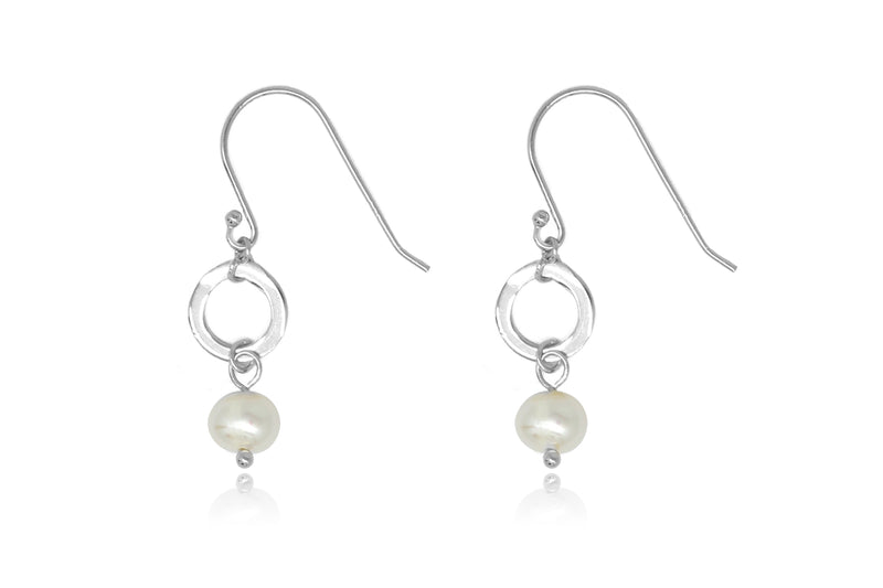 Ritter Silver Pearl & Circle Drop Earrings - Boho Betty