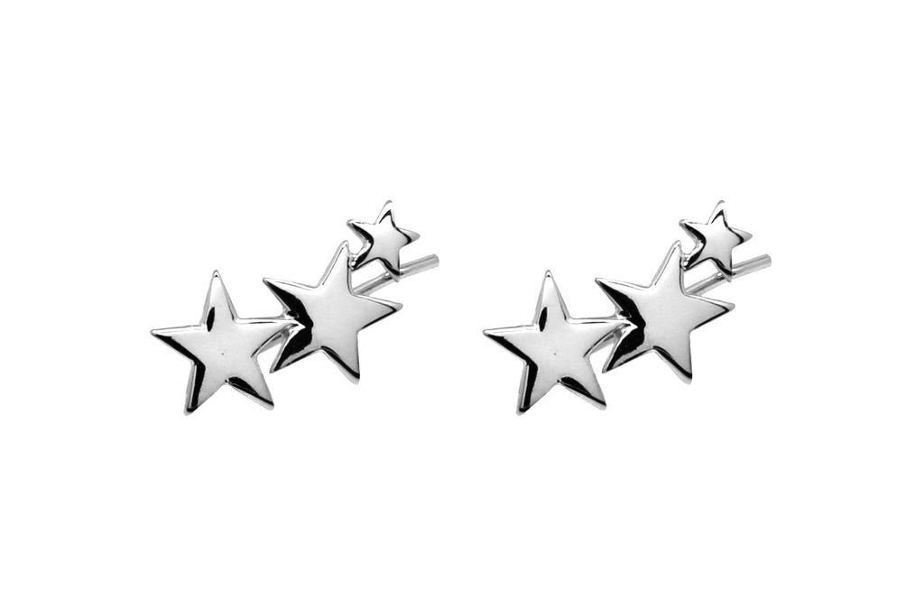 Saldana Sterling Silver 3 Star Pull-through Earrings - Boho Betty