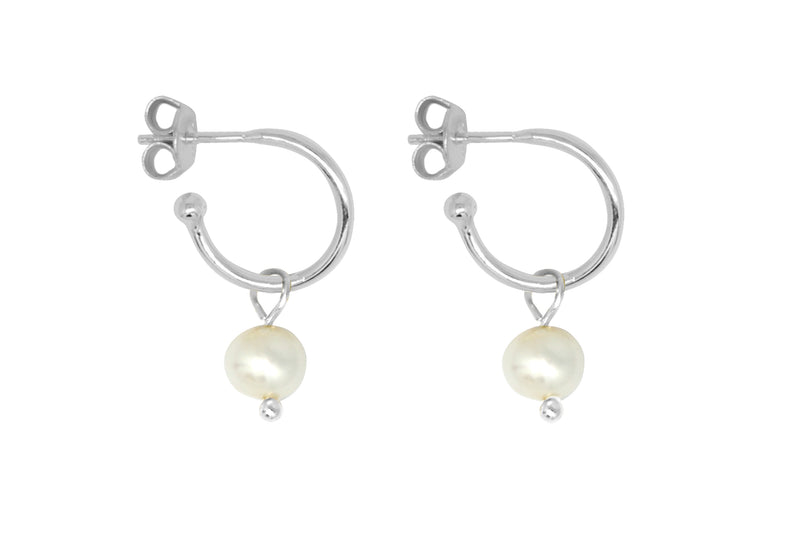 Sanchez Silver & Pearl Hoop Earrings - Boho Betty