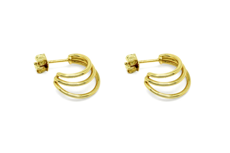 Thurman Gold Triple Half Hoop Earrings - Boho Betty