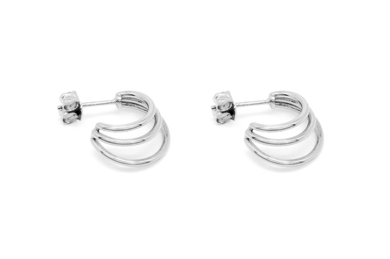 Thurman Sterling Silver Triple Hoop Earrings - Boho Betty