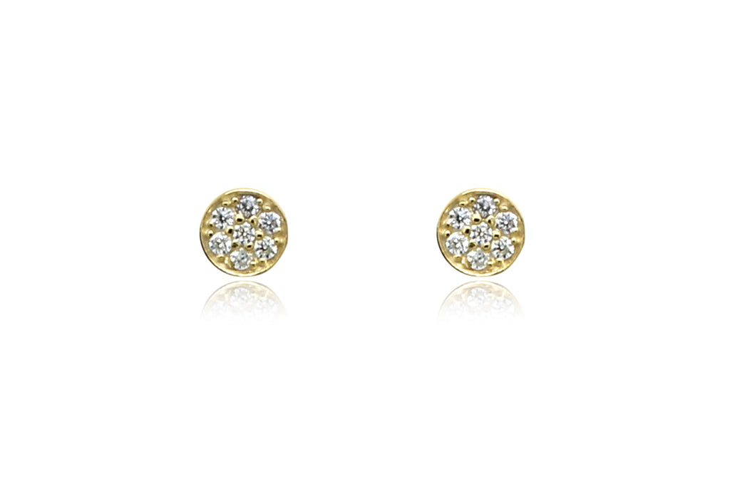 Woodley Clear & Gold Disc Stud Earrings - Boho Betty