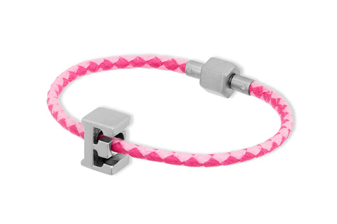 Echidna Pink Waxed Cord Letter Bracelet