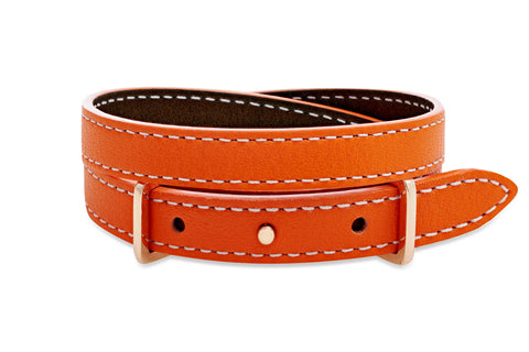 Elm Metallic Brown and Orange 2 wrap Leather Reversible Belt-Buckle Bracelet