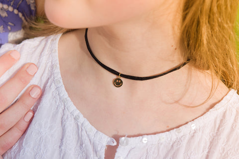 Black Velvet Choker with Gold Emoji Charm