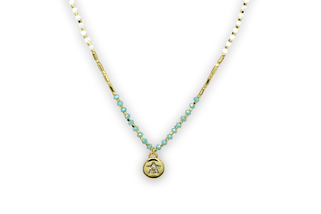 Eudora Gold Mint Beaded Necklace - Boho Betty