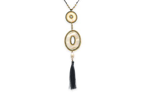 Euterpe Long Grey Tassel Necklace