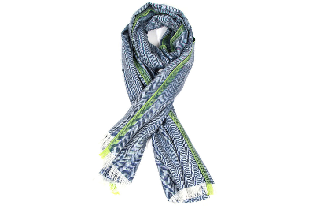 Blue Chulunt Mongolian Cashmere Scarf