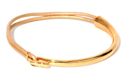 Cher Gold Leather Bangle