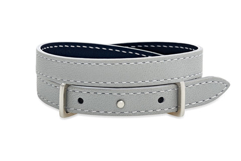 Fir Metallic Navy and Grey 2 wrap Leather Reversible Belt-Buckle Bracelet