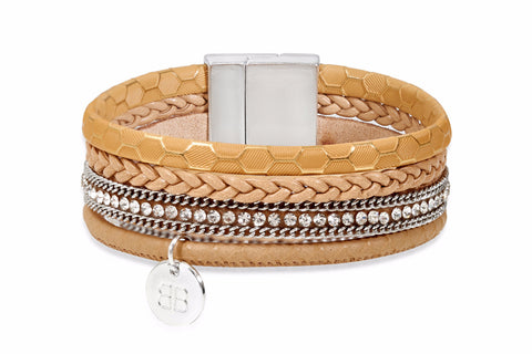 Fisher Tan Faux Leather Crystal Magnet Bracelet