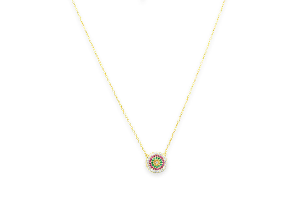 Fizz Gold CZ Disc Necklace