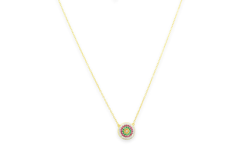 Fizz Gold CZ Sterling Silver Disc Necklace