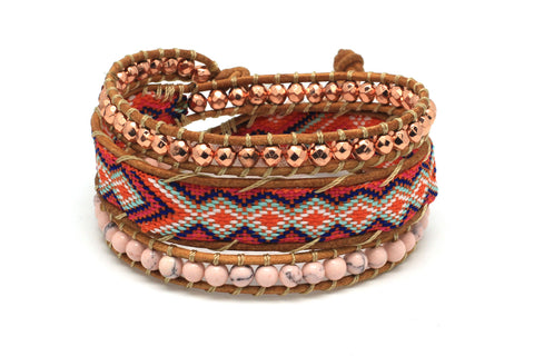 Florence Leather 3 Wrap Bracelet