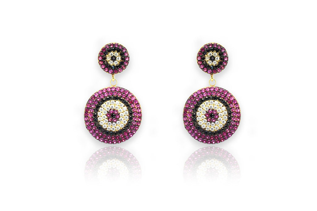 Forlani CZ Crimson Pink Beaded Earrings