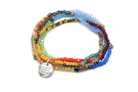 Freesia Multi-Coloured 4 Wrap Stretch Bracelet