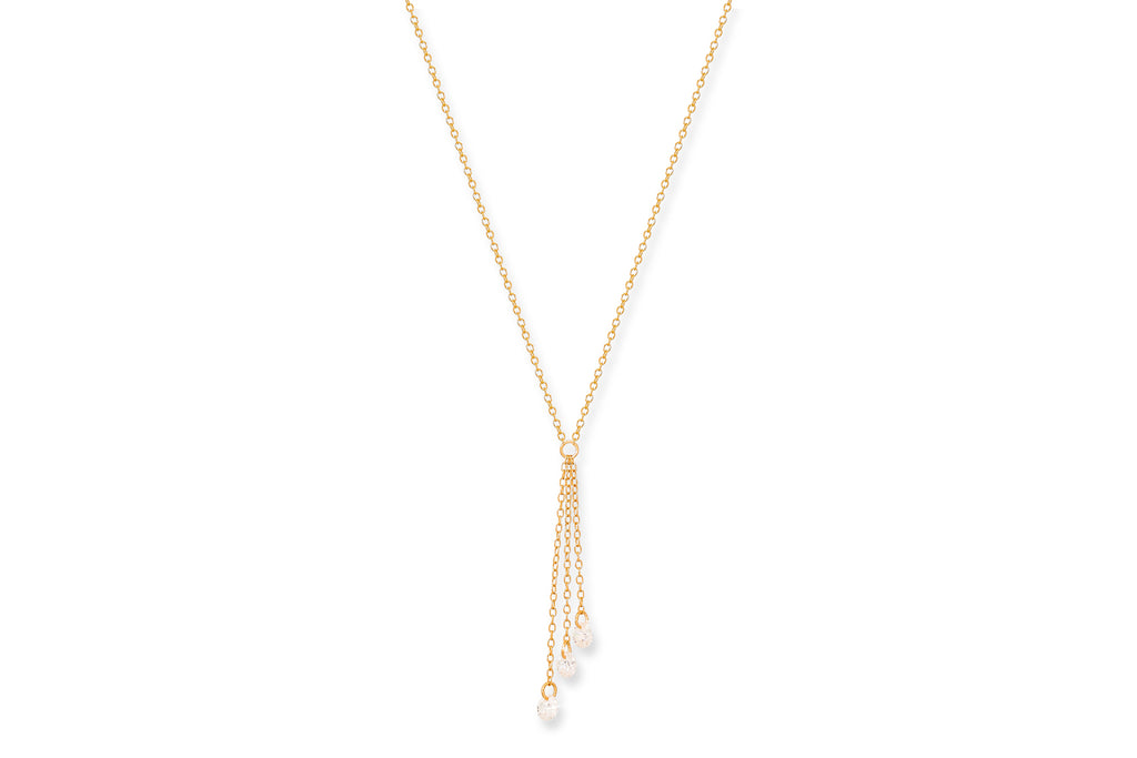 Ginsault Gold CZ 3 Chain Necklace - Boho Betty