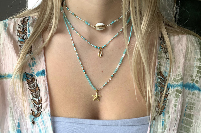 Comus Aqua Beaded Starfish Charm Necklace - Boho Betty