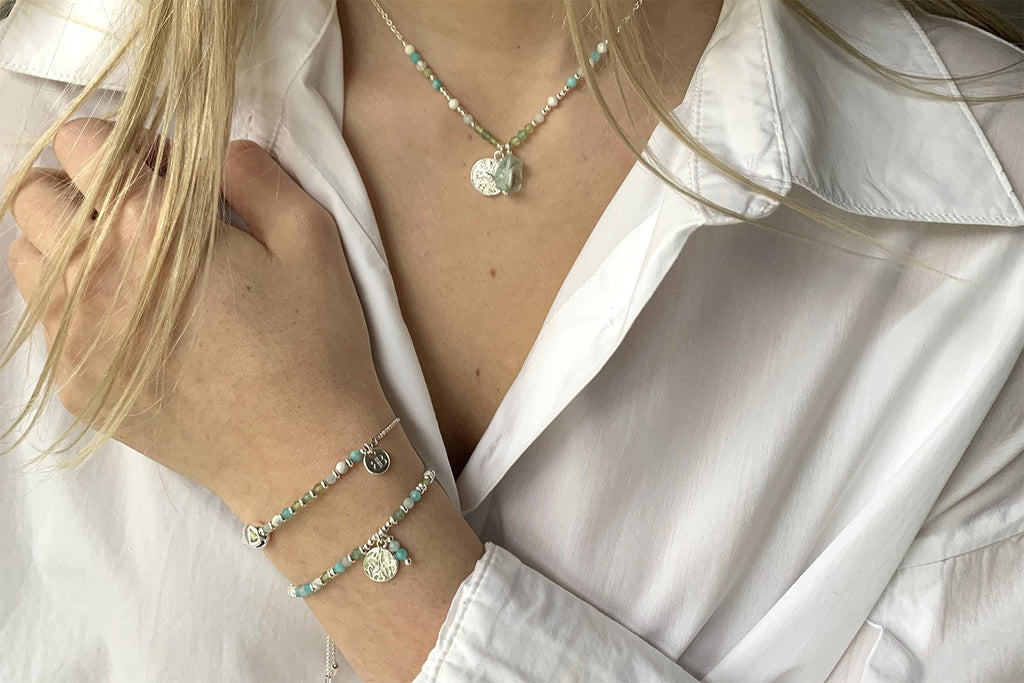 Amrum Aqua & Silver Charm Bracelet - Boho Betty