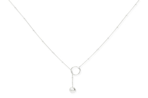Grigio Sterling Silver Lariat Ball Necklace