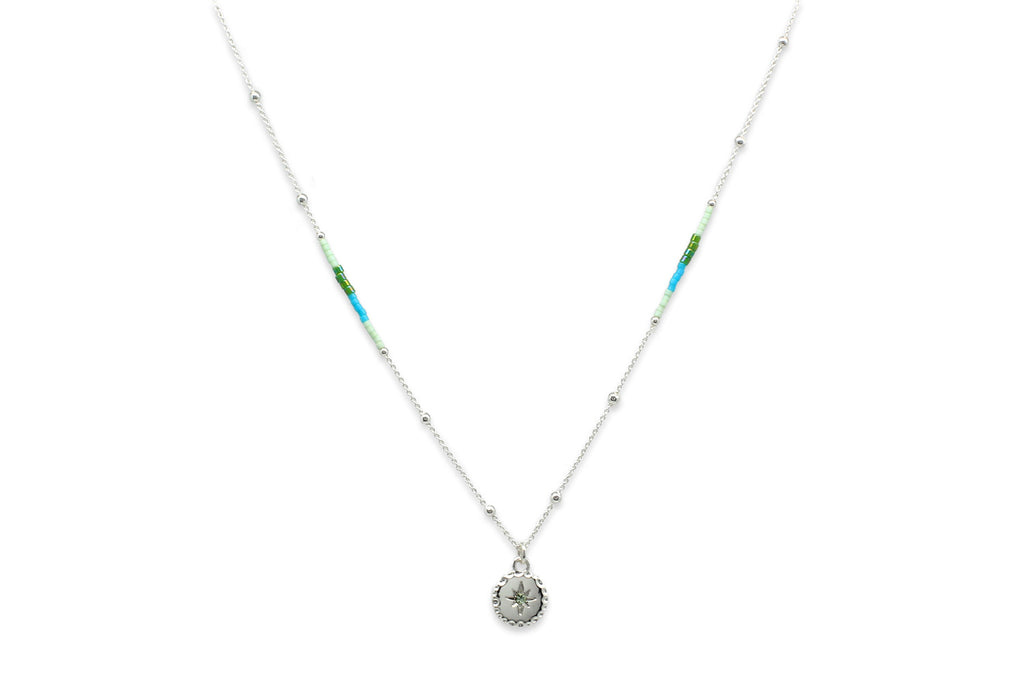 Galateia Mint Green Starburst Beaded Necklace