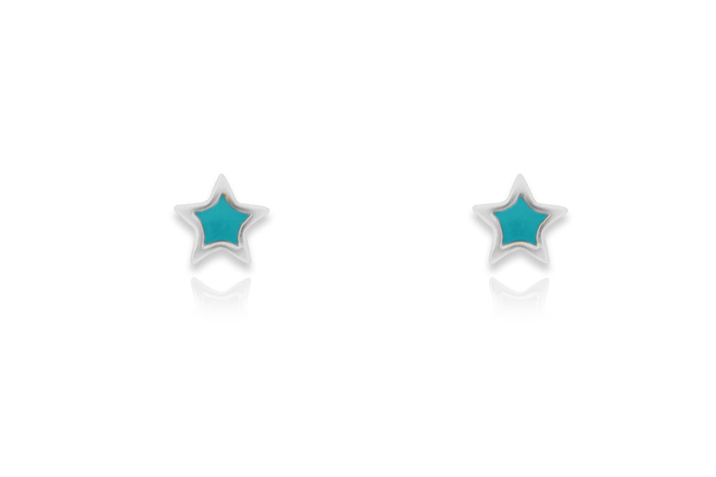 Gardner Silver Star Aqua Stud Earrings