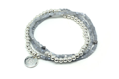 Gypsophila Silver 3 Wrap Stretch Bracelet