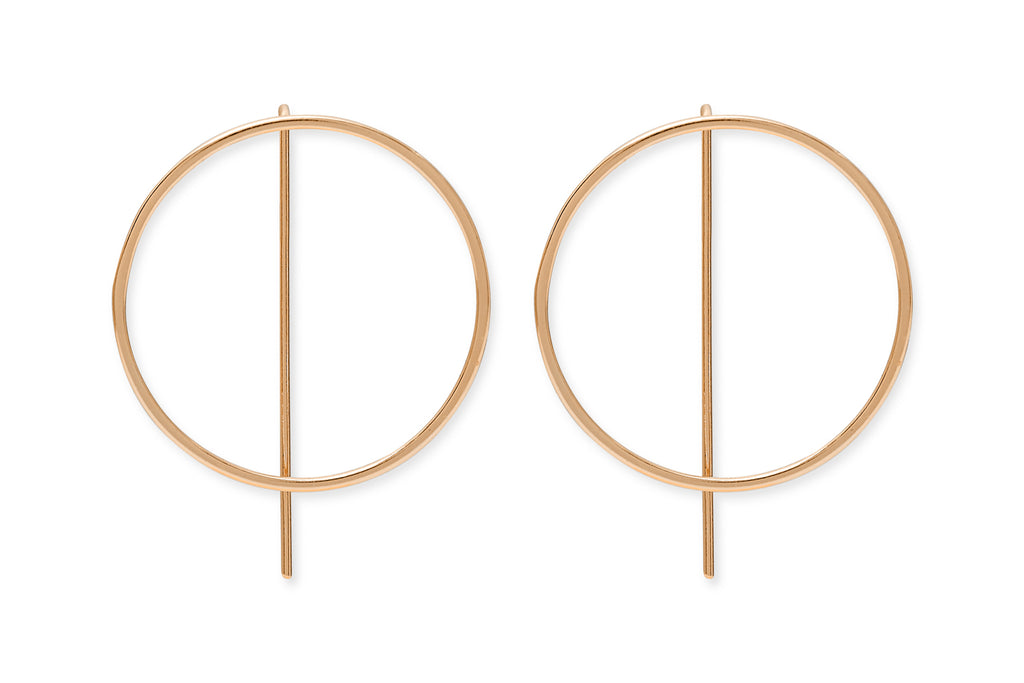 Harris Rose Gold on Sterling Silver Thread Through Circle Earrings