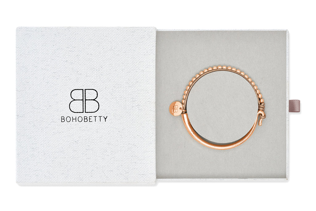 Haine Metallic Beige Leather with Rose Gold balls Bangle Gift Set