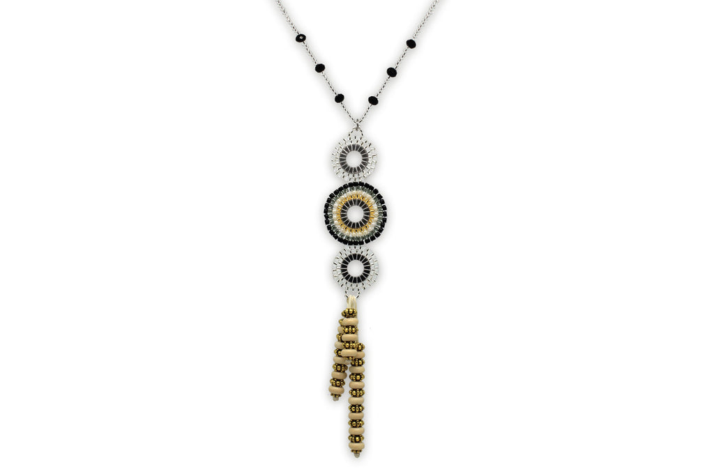 Hecate Beaded Silver Necklace