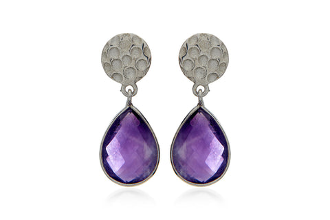 Hepburn Sterling Silver Purple Amethyst Teardrop Earrings