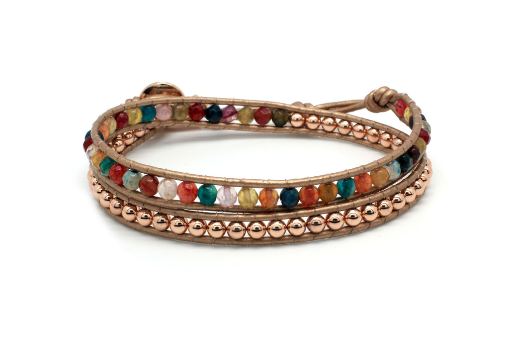 Hera Multicolour Leather Wrap Bracelet