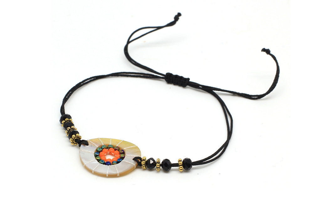 Hornpipe Black Disc Friendship Bracelet - Boho Betty