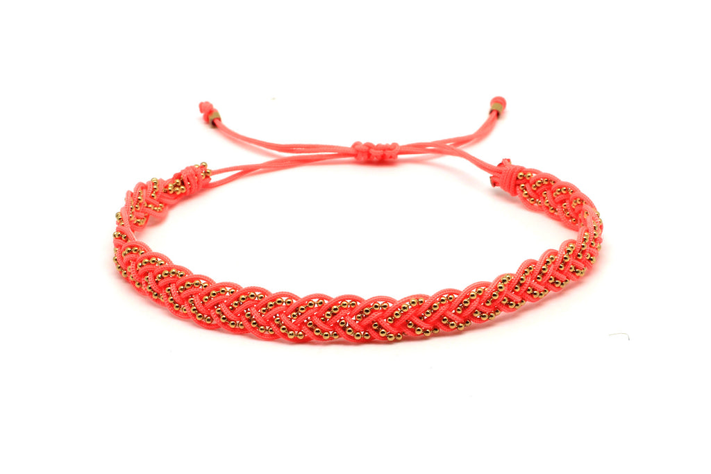 Horon Coral Braided Bracelet