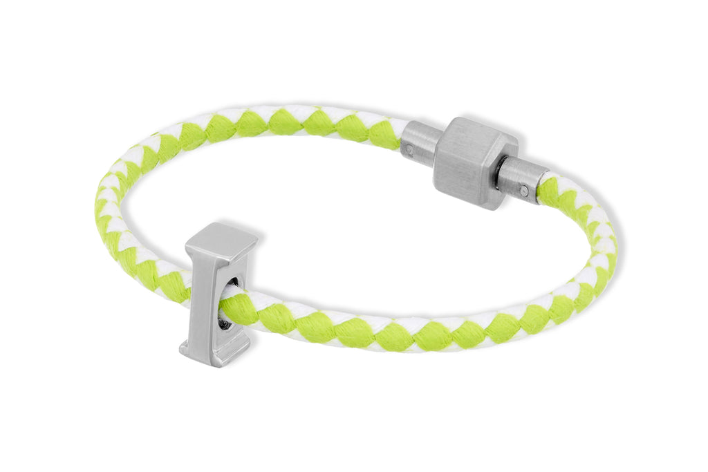 Hydra Lime Waxed Cord Letter Bracelet