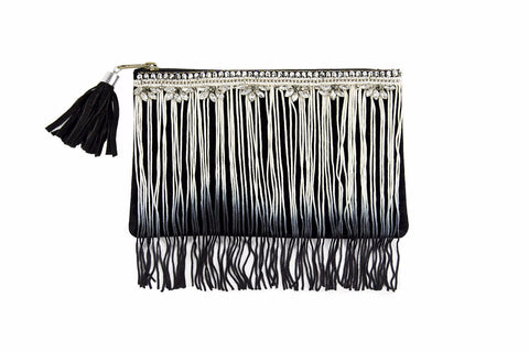Tilberis Clutch Ziptop Bag with Ombre Tassels